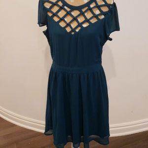 Deep teal dress with rose gold zipper